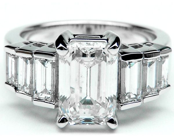 Emerald Cut Diamond Engagement Ring Step Up Baguettes Angelina Jolie