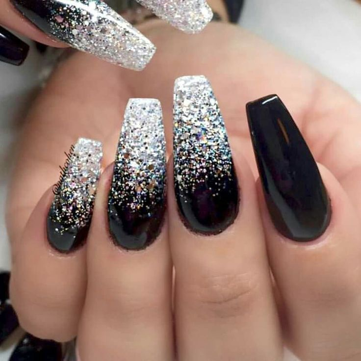 Pin By Womens Fashion Outfit Ideas On Nail Designs Silver Glitter Nails Ombre Nails Glitter Glitter Nails Acrylic