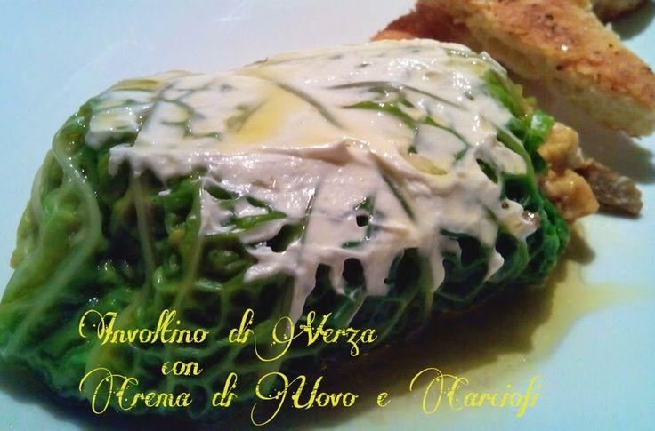 Cucinando tra le nuvole: Involtino di Verza con Crema di Uovo e Carciofi