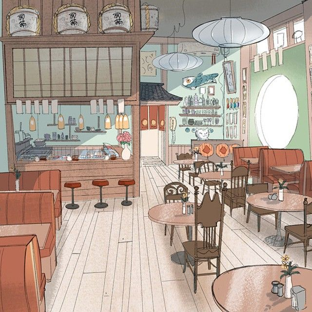 victoriaying: #Disney #bh6 early idea for the cafe! Alternate Version of the Cafe as a Sushi bar by Victoria Ying!