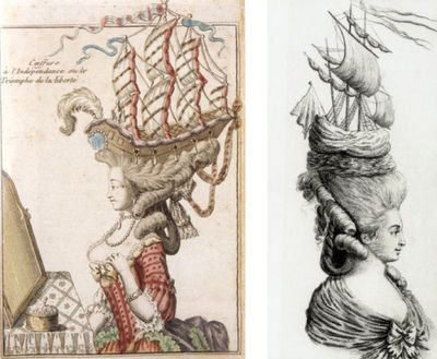 In support of a French victory, Marie Antoinette added a boat to her pouf in what the public considered an ostentatious and wasteful gesture...