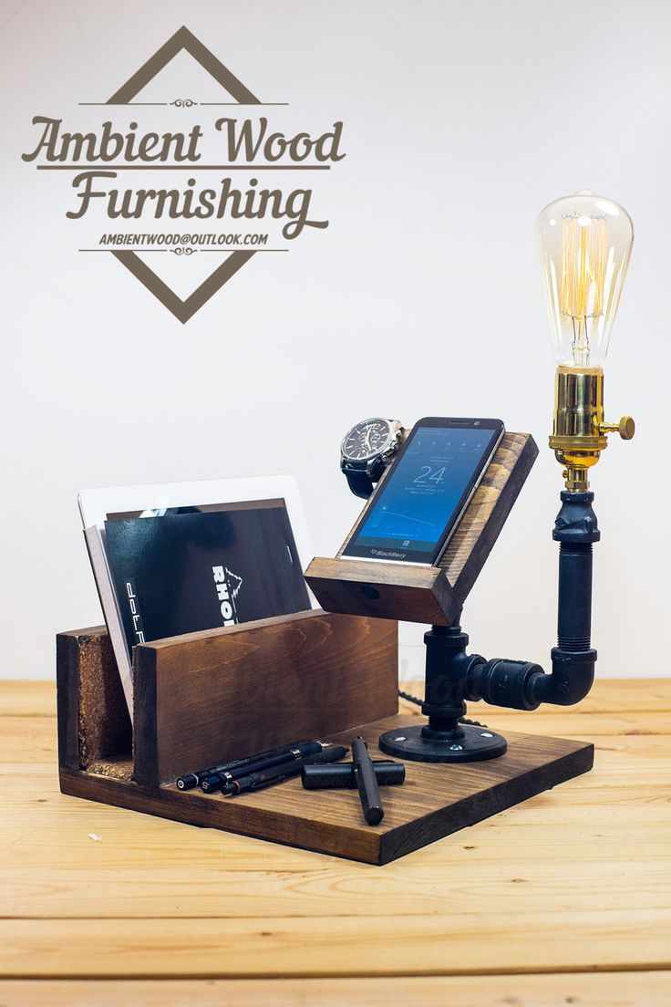 Industrial Pipe Lamp With IPad support and Apple by AmbientWood