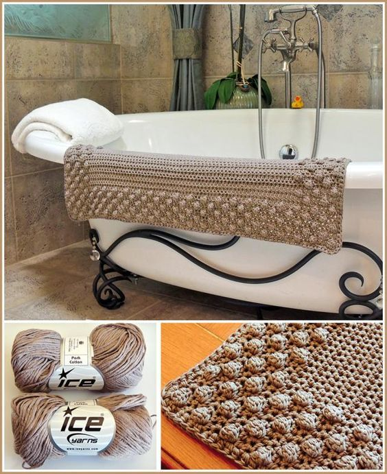 Pretty Puff Bath Mat a terrific textured crochet pattern from Stoneface Creations.