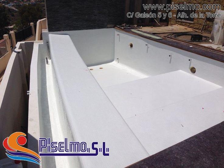 Detalle vasos terminados construcci n de piscina - Piscina gresite blanco ...