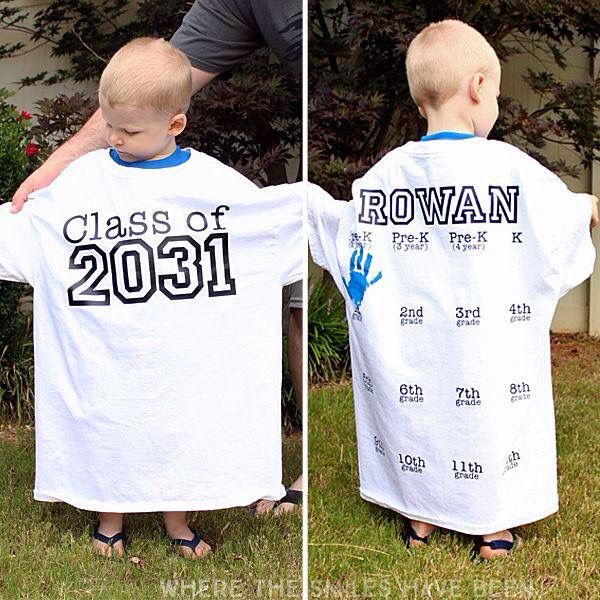Get an adult shirt put the graduating year on it and starting the kindergarten take a picture on the first day of school add the hand print and watch your kids grow into the shirt