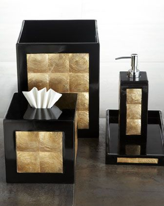 """Ebony"" Vanity Accessories by Pearl Dragon Collections, LLC at Horchow."