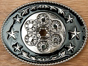 Montana Silversmiths® Silver with Black 44 Magnum Oval Belt Buckle