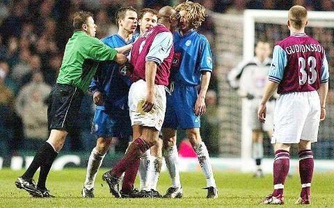Aston Villa's Dion Dublin headbutts Birmingham City's Robbie Savage