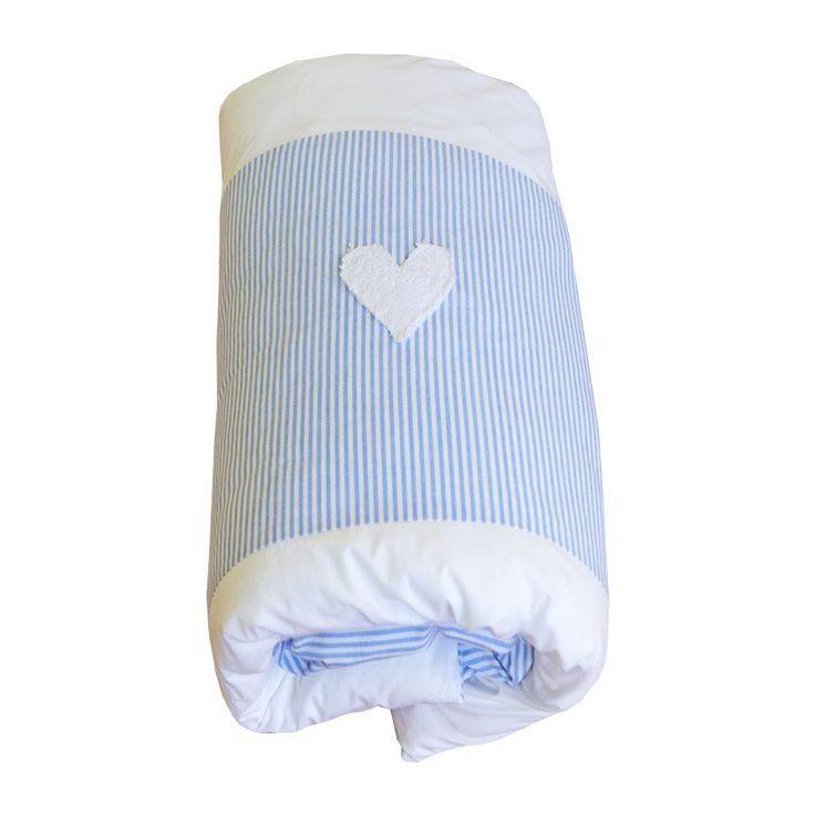 Blue / White Pinstripe Hearts - Cot Duvet Cover