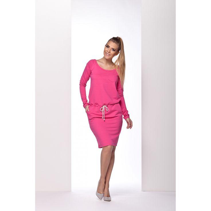 Rochie sport roz casual cu maneci lungi