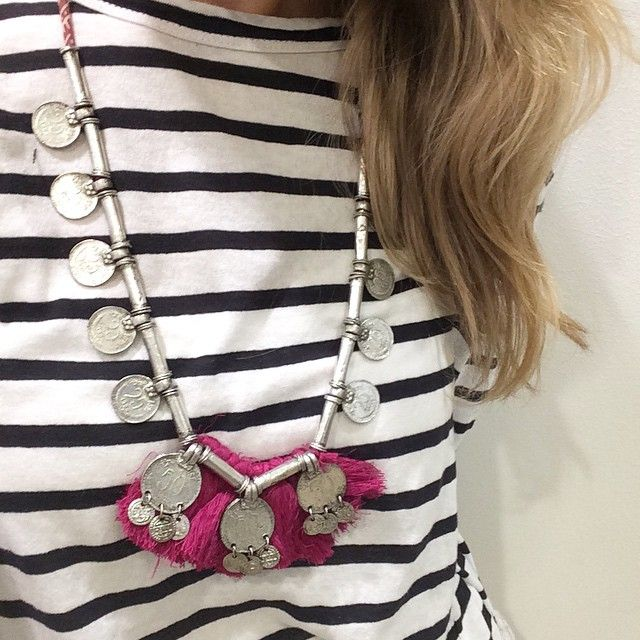 Outfit of the day - Ebony Eve strip top was $89 - now $71. Our Pink Coin necklace only $49 #marshmellowboutique #sunday #outfit #oftheday #sale #enonyeve #stripe #top #boho #necklace #pink #coin #fashion #love