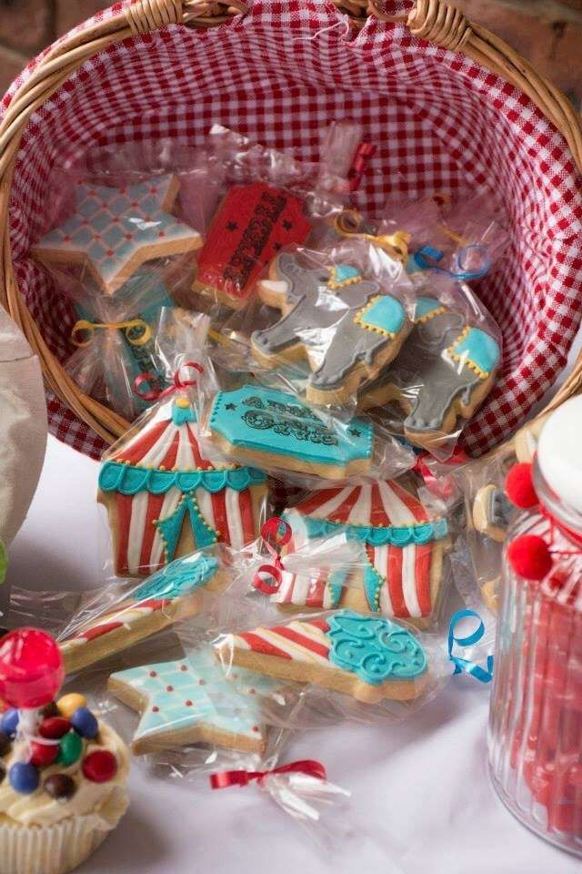 Retro carnival birthday party cookie favors! See more party ideas at CatchMyParty.com!