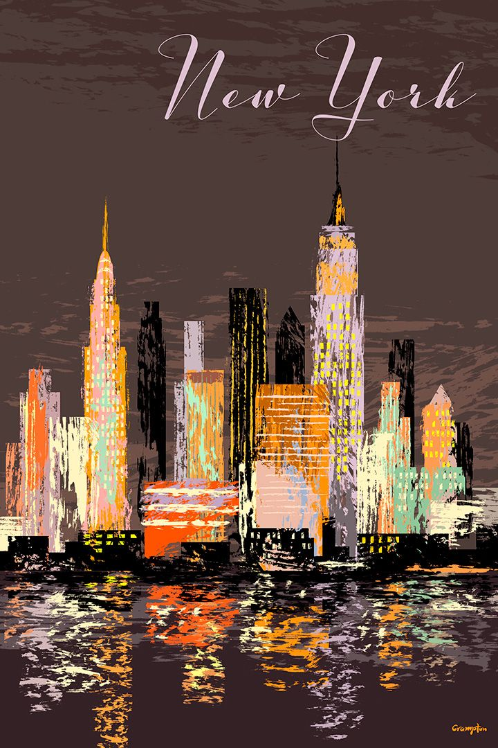 A retro style New York poster by Michael Crampton
