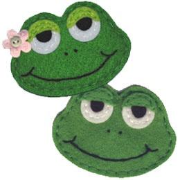 Two Kazoos Custom Felt Gifts & more- frog felt embellishments.