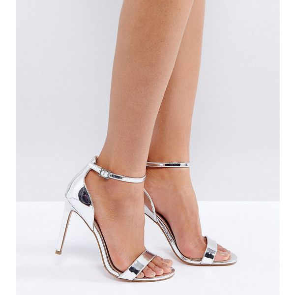 ASOS HANG TIME Barely There Heeled Sandals ($39) ❤ liked on Polyvore featuring shoes, sandals, silver, high heels sandals, heeled sandals, ankle strap high heel sandals, silver high heel sandals and silver prom shoes