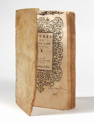 Louise Labé Evvres of LovÏze Labé Lionnoize Lyon 1555 Rare first edition. Superb exemplary in its first soft vellum binding.