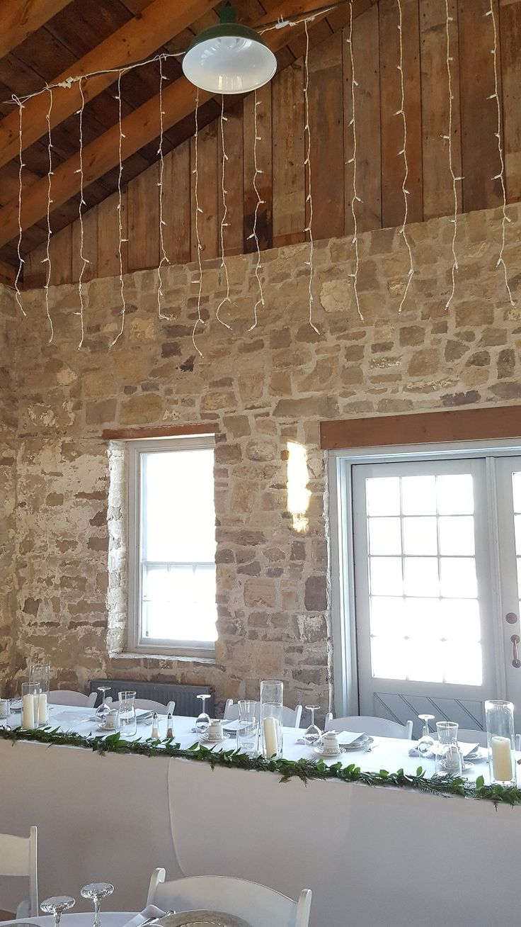 Dangling lights mimic falling snow at this January 2018 winter wonderland wedding reception in Ruthven Park's Coach House.