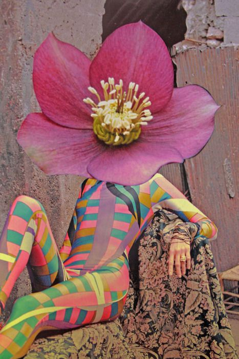 Psychedelic and colorful woman with a pink flower head