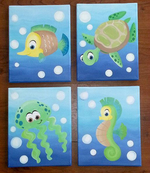 Sea Creatures Art for nursery walls painted on canvas by Leilasartcorner on Etsy https://www.etsy.com/listing/176478909/sea-creatures-art-for-nursery-walls