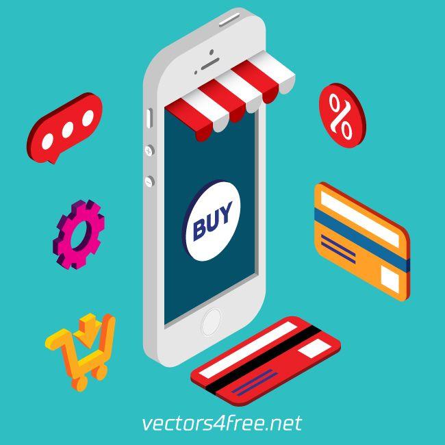 Get free Isometric mobile online shopping vector, Flat 3d design concept Shopping, e-commerce vector illustration. Fully editable with Adobe Illustrator CS6