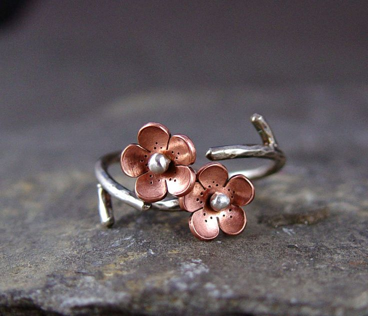 Cherry Blossom Branch Adjustable Ring,Spring Jewelry,1 single flower ring  MADEtoORDER, Plum blossom, Twig jewelry,  ROUND Petals. $35.00, via Etsy.