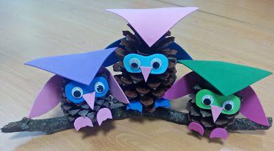 Ideias Giras: Mochinhos feitos com pinhas