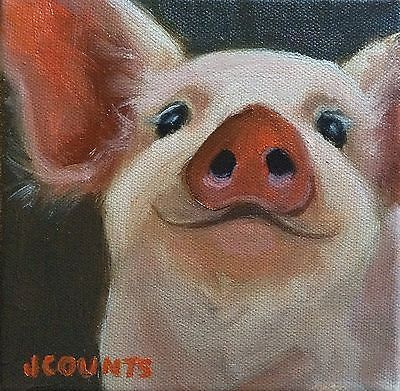KYLE-BUCKLAND-S-WIFE-JENN-COUNTS-FARM-ART-Pig-Hog-ANIMALS-OIL-PAINTING-A-DAY