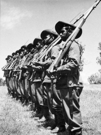 Indigenous soldiers at Number 9 camp at Wangaratta, Victoria 1940-12.