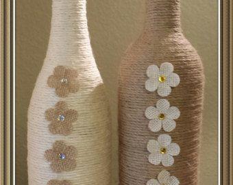 Twine Wrapped Wine Bottle by MATUA on Etsy