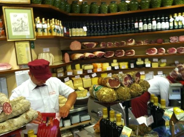 My meat man, giving me some to go...Salumi, of course! Sheesh! :p  Bruno e Franco Salumeria #Bologna, #Italy