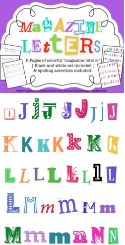 6 pages of magazine Letters for word work!