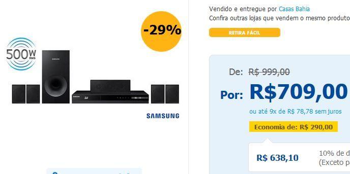 Home Theater Samsung HT-F4505/ZD 5.1 Canais com Blu-ray Player 3D Rádio FM Entrada USB Cabo HDMI e Lê DVD << R$ 63810 >>