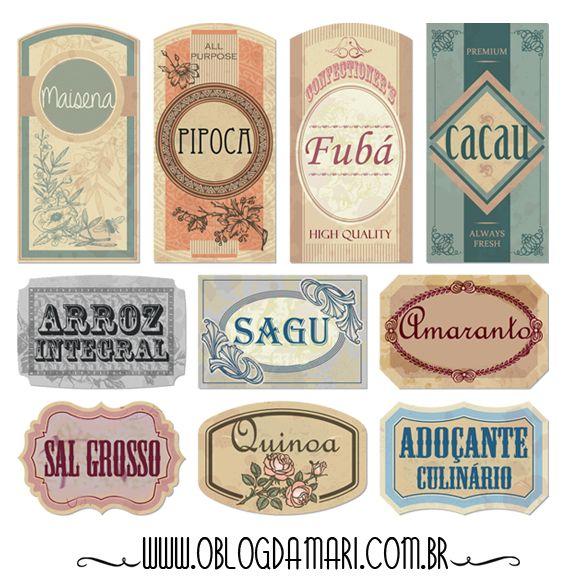 O blog da Mari: Etiquetas vintage para potes de alimentos 2                                                                                                                                                      Mais
