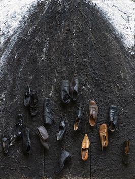 plague 21, 2013  mixed media: soil, shoes, paint /OSB  200x150 cm by łubkowski