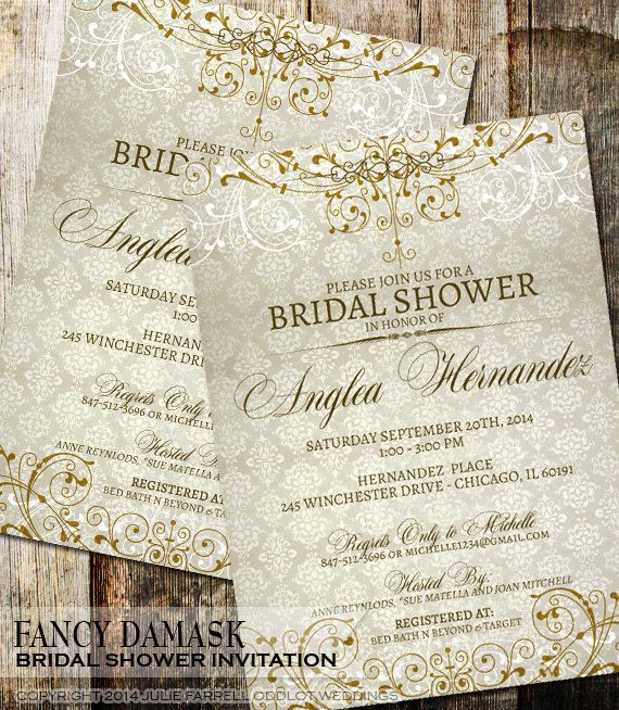 damask bridal shower invitation that is vintage in style and has beautiful classic flourish elements for