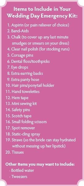 Wedding Day Emergency Kit list...I like to put some of these things together in a nice makeup bag and give it to the bride at her shower. she can also use the bag for the honeymoon!