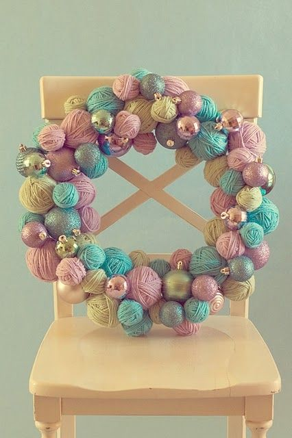 Love the idea of using balls of yarn and ornaments for the wreath!