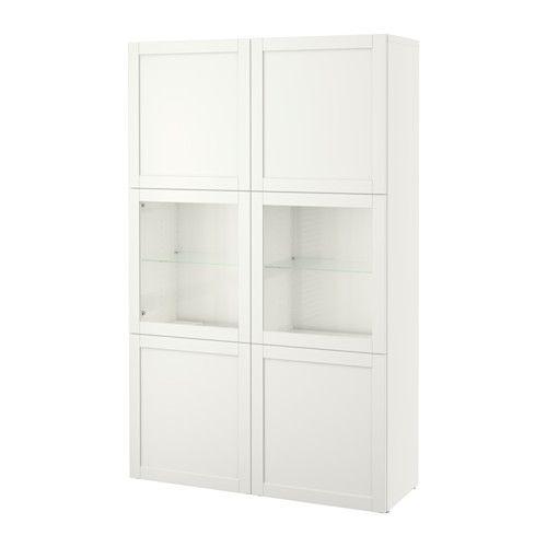 BESTÅ Combinazione con ante a vetro - Hanviken/Sindvik vetro trasparente bianco - IKEA