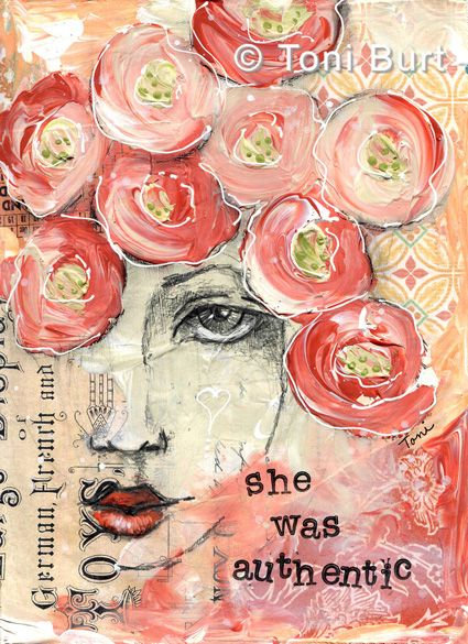 she was authentic - 8x10 from my art journal - mixed media including old vintage papers, wallpaper, acrylic paint, typeface old shabby vintage style flowers in her hair - gorgeous vibrant orange! art journaling, by Toni Burt