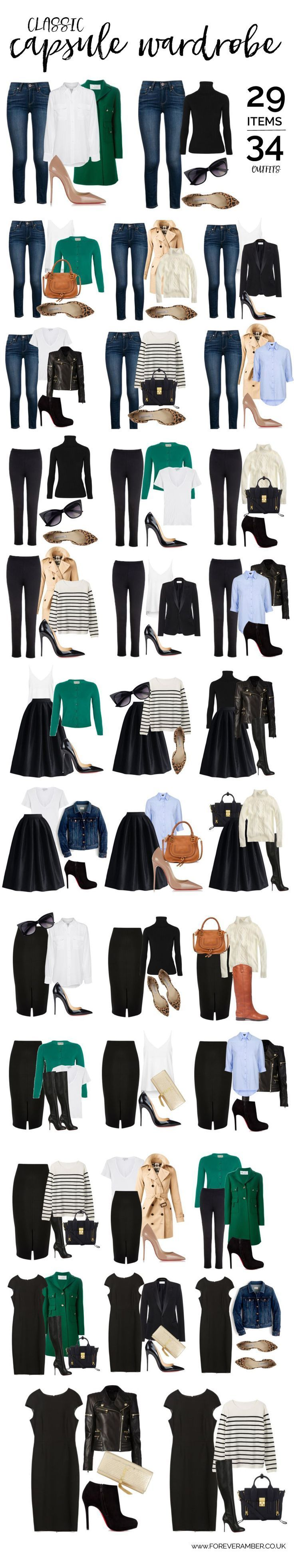 classic capsule wardrobe: 34 outfits from a selection of wardrobe essentials