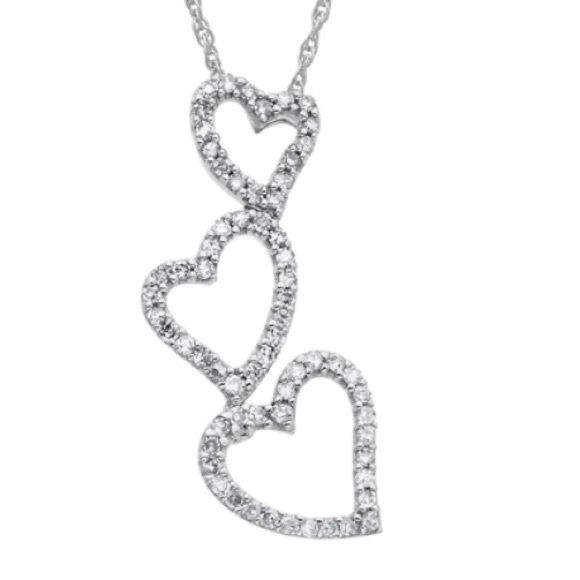 Super SALE 14K White Gold Diamond Heart Necklace Look gorgeous in this 14 Kt. white gold diamond triple heart necklace from Lord & Taylor. Featuring a drop pendant with three open hearts with allover round diamonds and a 14 Kt. gold chain, fall in love with this beautiful diamond heart drop necklace. 0.2 diamond ct. t.w., 14 Kt. white gold. Worn twice comes with original box NO TRADES Lord & Taylor Jewelry Necklaces