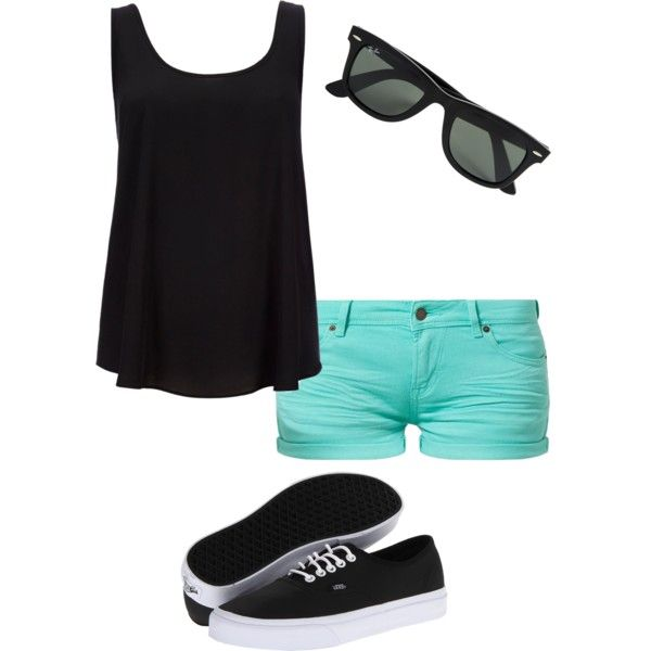 Black Teal, created by bridgette19 on Polyvore....Cute Outfit, Summer Outfits, Fashion