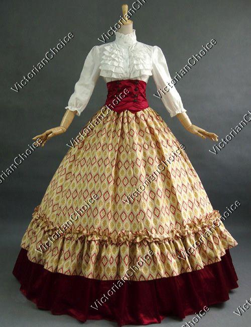 Civil War Ball Gown Reenactment Theatre Clothing Period Dress Gothic