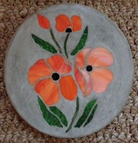"Pansies 8"" Stained Glass Garden Stone"