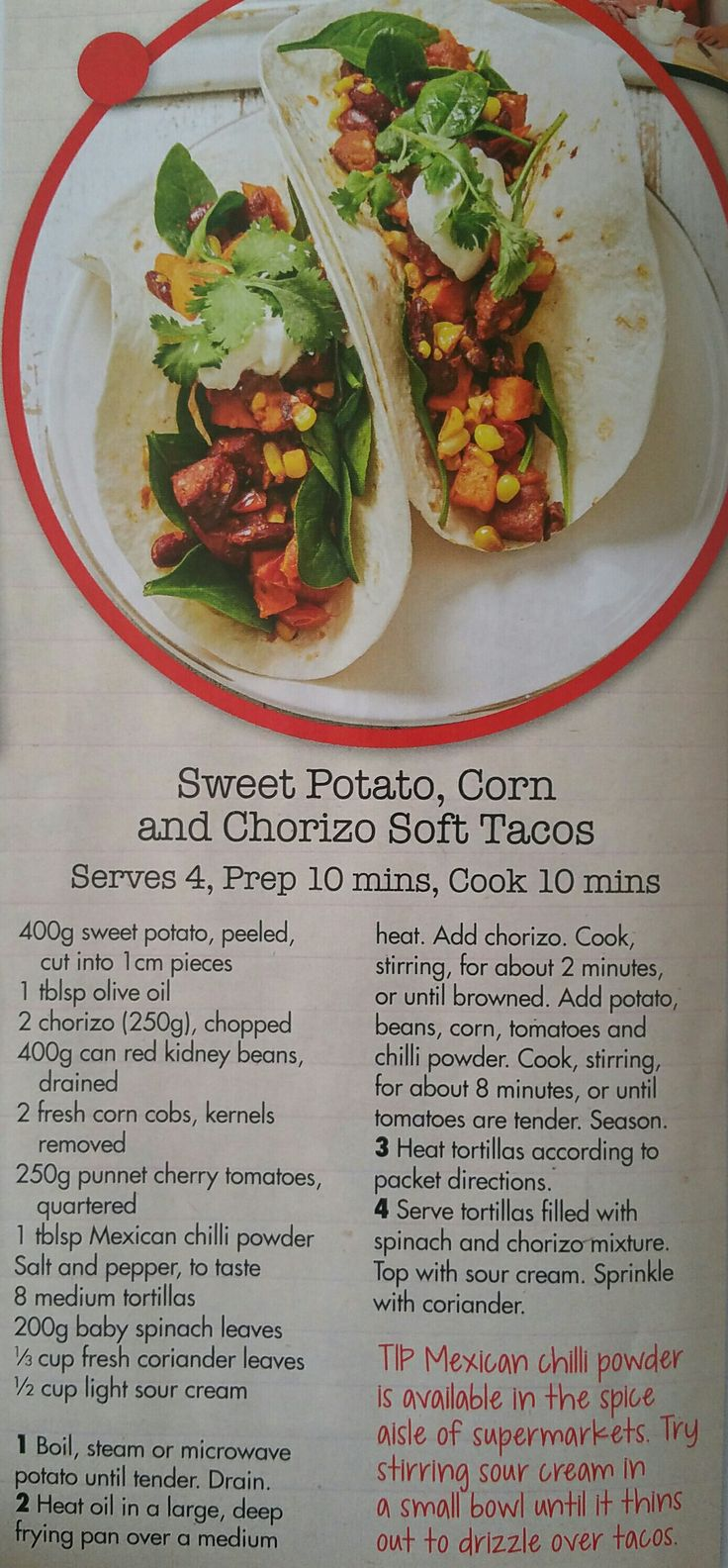Sweet potato,  corn and chorizo soft tacos