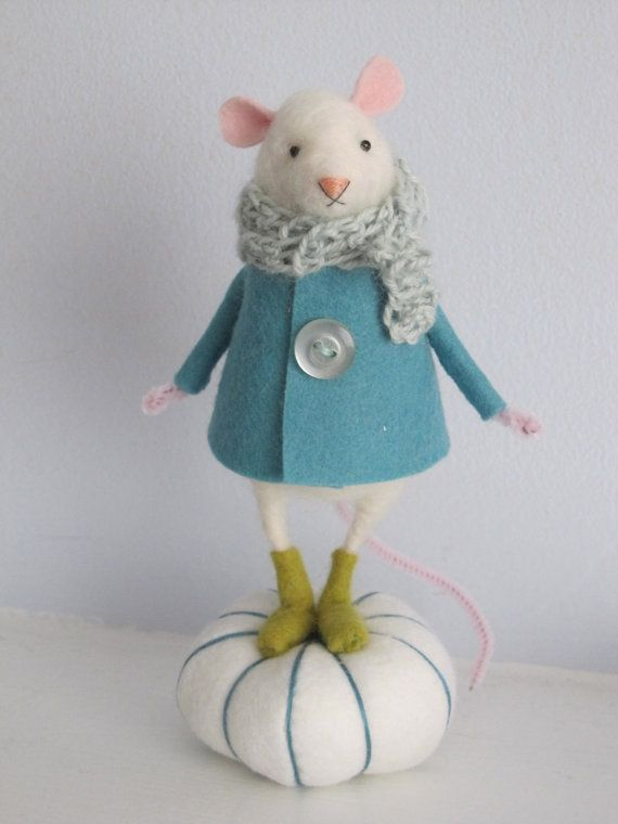 needle felted mouse with winter boots by lagreen on Etsy, $75.00