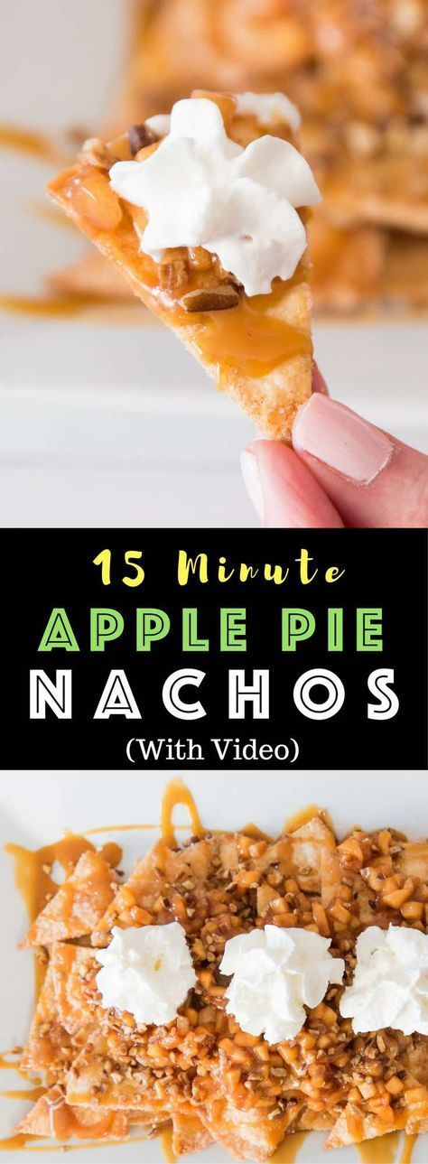 Super Easy Baked Apple Pie Nachos or Apple Pie Bites – delicious cinnamon sugary apple filling on warm, crispy and sweet nachos, topped with pecans, drizzled with caramel sauce, and then topped with whipped cream! The easiest dessert that comes together in no time. It's the perfect way to serve apple pie to a crowd! Quick and easy recipe. Great for party dessert and holiday brunch such as Easter, Mother's Day or Father's Day. Video recipe. | Tipbuzz.com