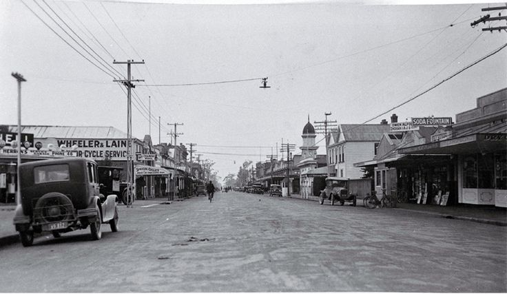 Looking East Down Rangiora in 1930's