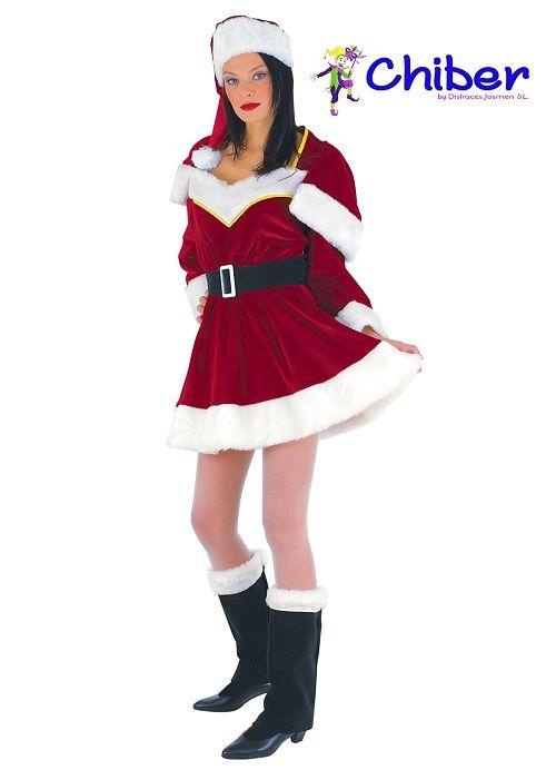 """Disfraz Miss Santa Claus: En las primeras historias sobre Santa Claus él no volaba, ni andaba en trineo, sino que iba a caballo por el mundo, hasta que Clement Moore escribió en 1823 el poema """"Una visita de San Nicolás"""", donde se lo imaginaba volando en trineo tirado por renos mágicos."""