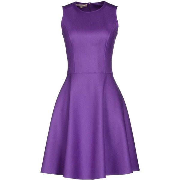 Michael Kors Short Dress (£791) ❤ liked on Polyvore featuring dresses, short dresses, purple, mini dress, pocket dress, sleeveless cocktail dress and michael kors
